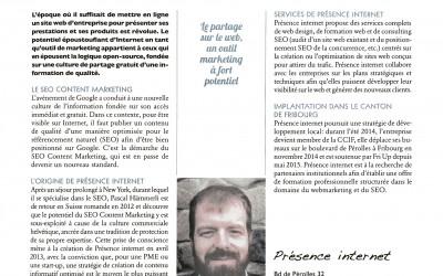 Présentation de Présence internet dans l'ECHO Magazine